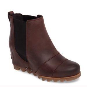 RARE Sorel Leather Lea Wedge Redwood Snow Boots